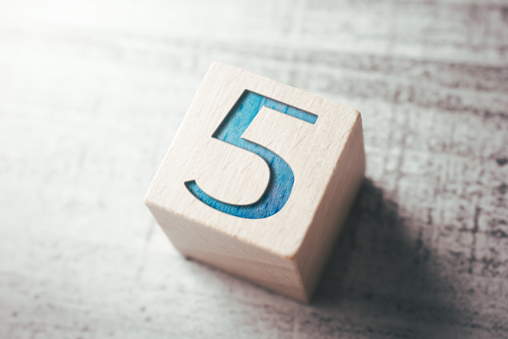 Number 5 On A Wooden Block On A Table, five