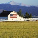 US Flag, barn, farmland