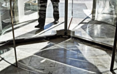 walking in revolving door, cycle, return