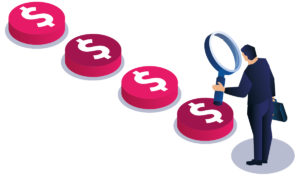 Magnifying glass dollar search focus