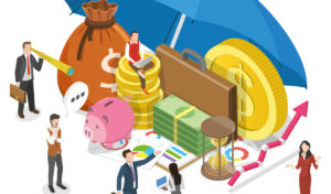 Money assets shelter umbrella