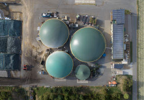 Biogas facility, aerial view