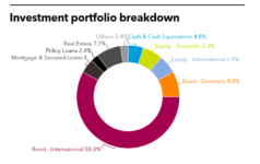 Investment portfolio breakdown of Cathay Life Insurance