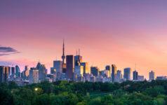 Toronto city night skyline, Ontario