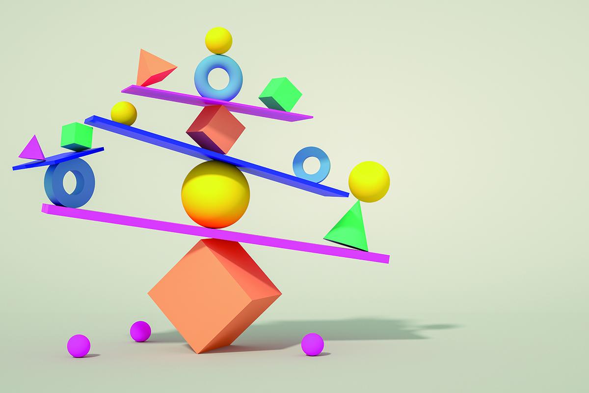 Balance, Teamwork, random shapes