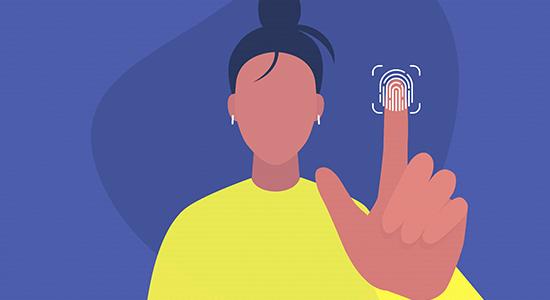 Finger print touch screen woman