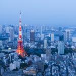 Tokyo skyline at night in Japan
